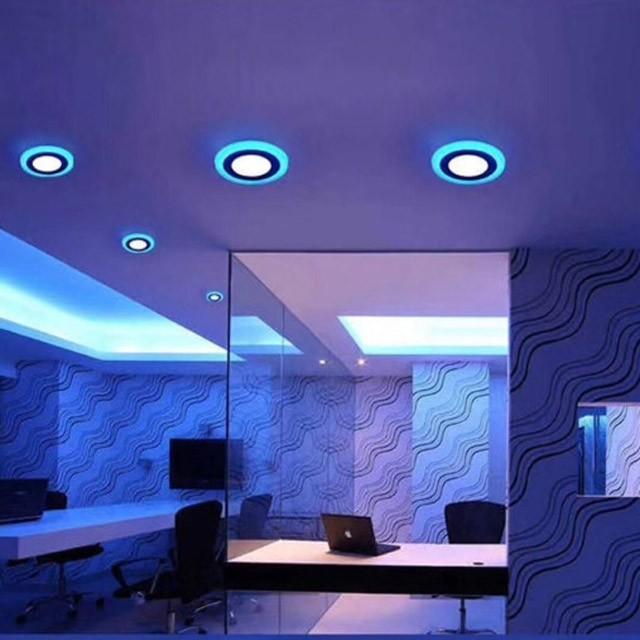 Đèn Led Ốp Trần Nổi 3+3W / 12+4W Viền Màu Xanh, Đèn Trang Trí Trần Phòng Khách, Phòng Ngủ
