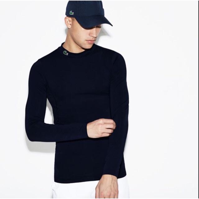 Áo thun nam giữ nhiệt cổ 3 phân - cổ tròn dài tay - chất liệu cotton co giãn 4 chiều - 2 màu Đen Trắng - mã LA01