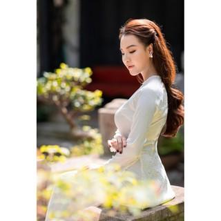 Áo dài trắng/đỏ gấm tơ cổ ngọc siêu sang