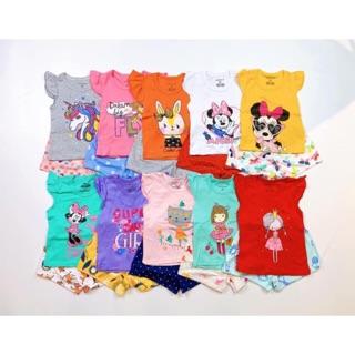 Bộ cộc tay bé gái 1-6 tuổi hàng lên từ vải xuất khẩu