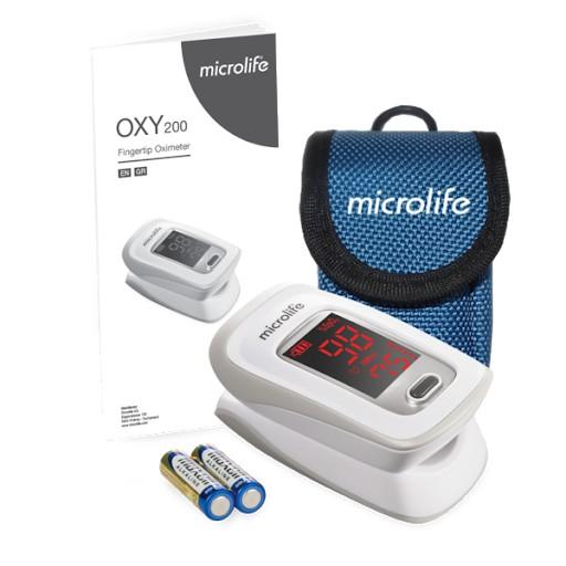 [Mã SMA071008 hoàn 10K xu đơn 0Đ] Máy đo nồng độ Oxy trong máu SPO2 và nhịp tim kèm bao đựng máy, Microlife OXY 200
