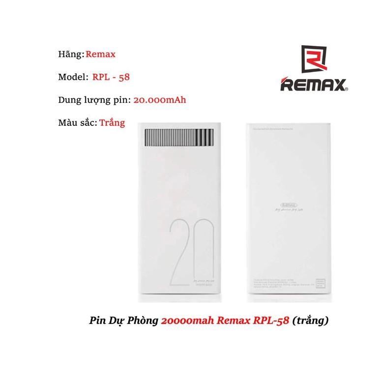 Pin sạc dự phòng chính hãng Remax RPL - 58 20000mAh