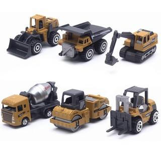 6pcs/set Kids Toy Car Construction Excavator Simulation Alloy Car Model Toys Vehicles