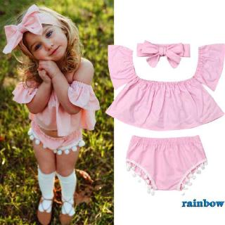 ❥Only➢Toddler Baby Girl Summer Pink Ruffle Sleeve Tops+Short Pants+Headband Outfits*