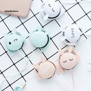 WDTE Cute Rabbit Stereo Earphone Headphone with Mic 3.5mm Ear-hook Sport Headset Gift