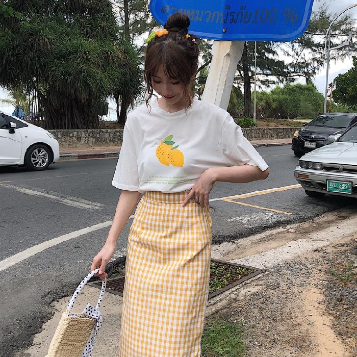 Set Áo Thun Ngắn Tay + Chân Váy Lưng Cao Họa Tiết Sọc Caro Thời Trang Theo Phong Cách Hàn Quốc