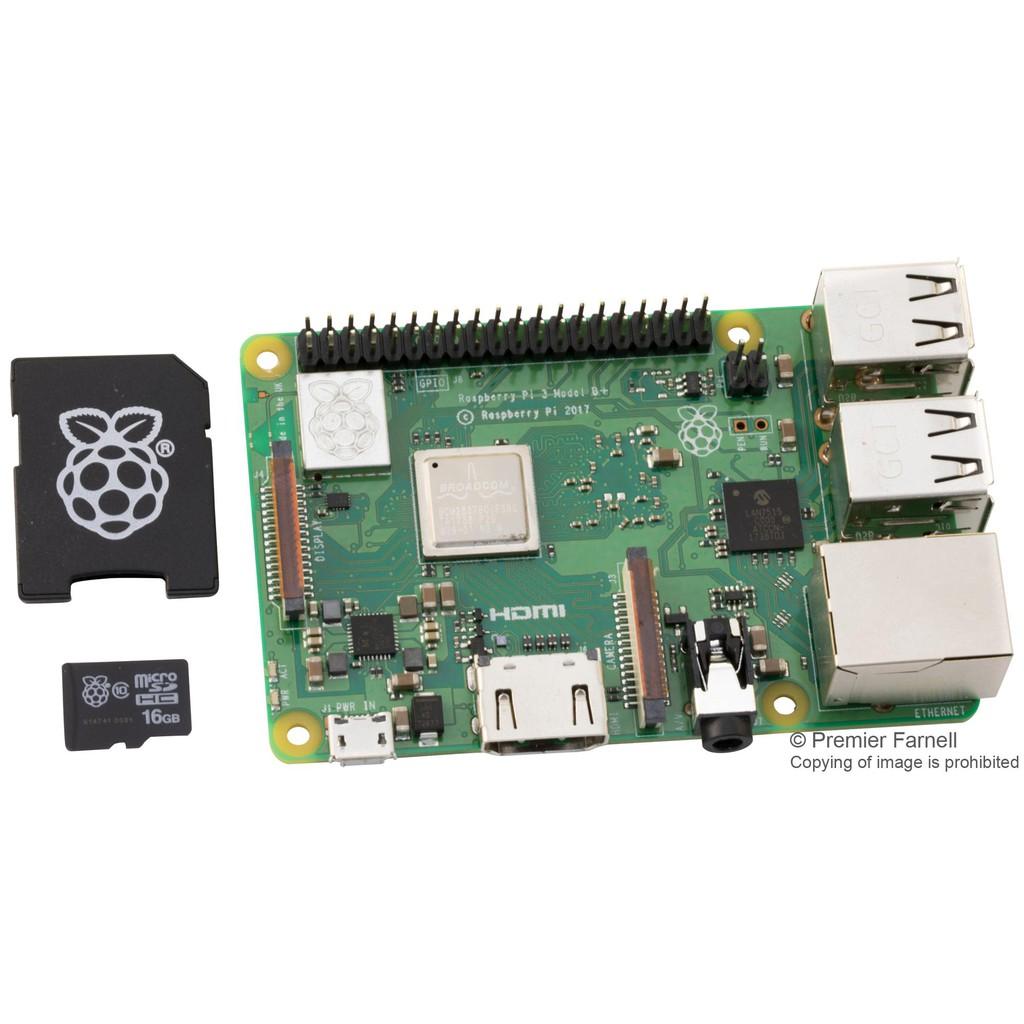 Combo Raspberry Pi 3 Model B+ Made In UK kèm thẻ nhớ 16Gb đã cài sẵn NOOBS