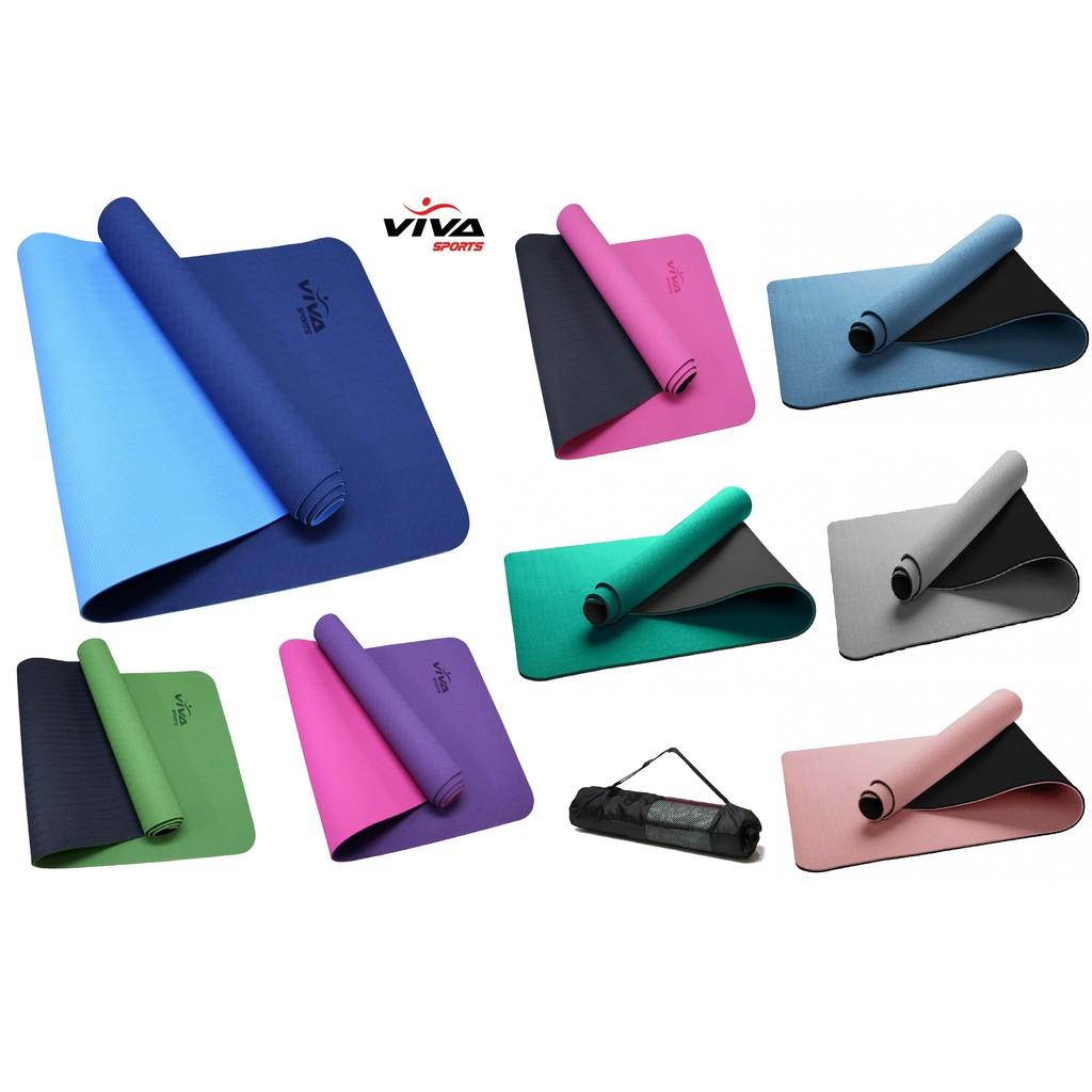 Thảm Tập Yoga TPE 2 Lớp 6mm  + dây buộc thảm - VivaSports ( Bảo Hành 1 đổi 1 trong 3 tháng )