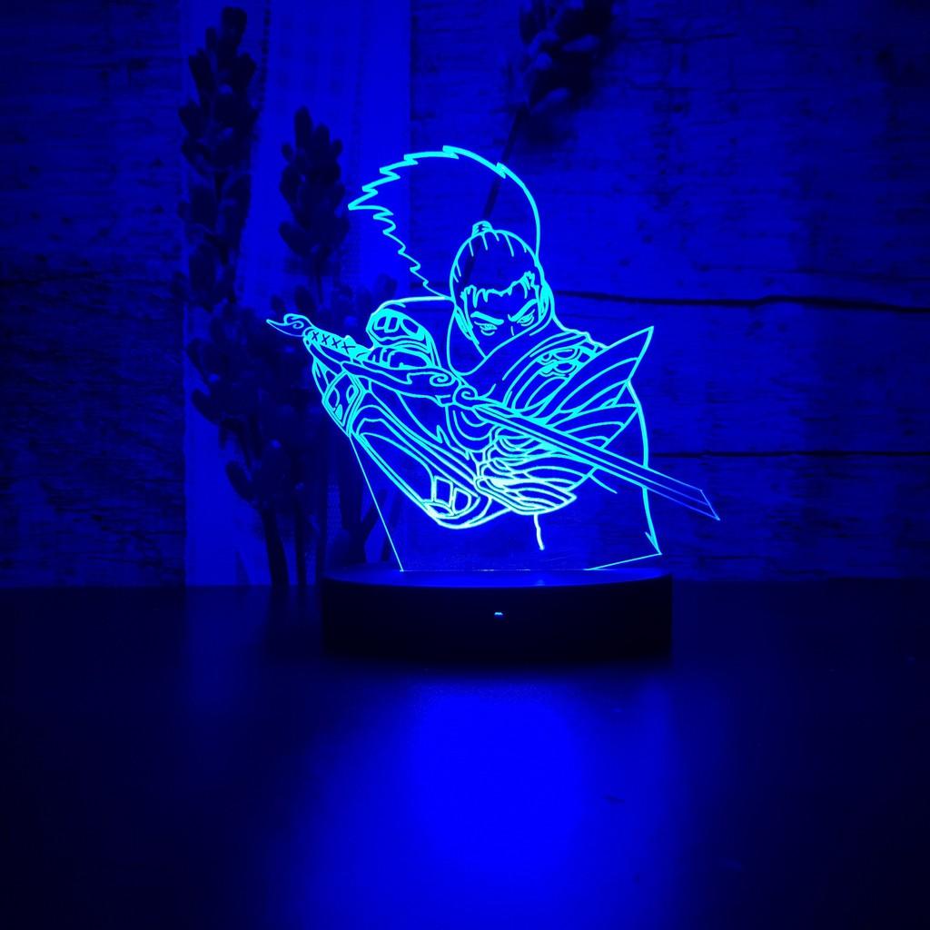 Đèn Led 3D 16 màu - đèn ngủ trang trí mẫu LMHT Yasuo Quốc tướng