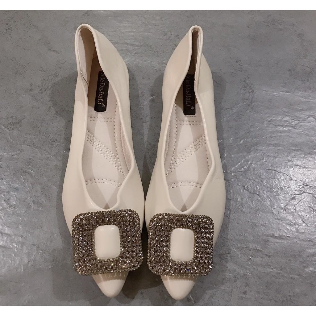Giày bệt nữ ⚡️HÀNG CAO CẤP⚡️ chất liệu da lì đế mềm dẻo siêu êm, Giày búp bê mũi nhọn đính đá siêu sang