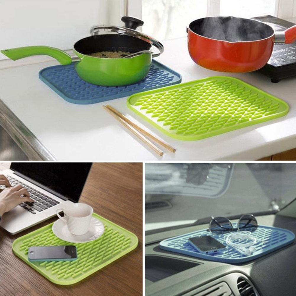 Silicone Washable Non slip Kitchen Table Mat Placemat 22X16cm Durable Useful