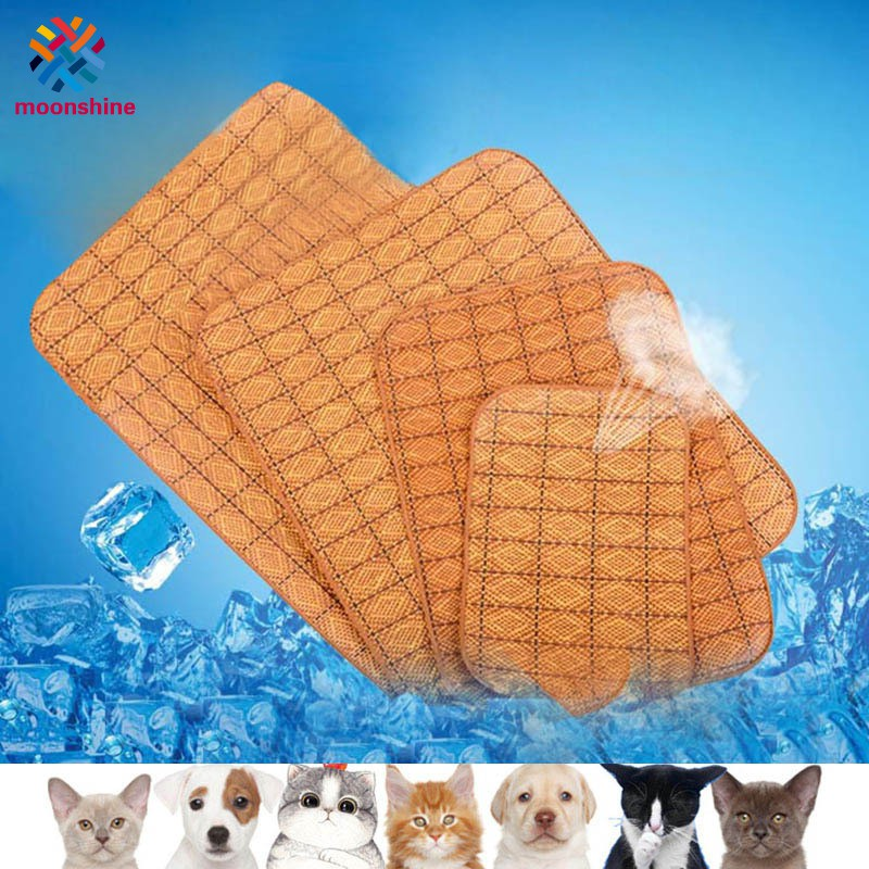 Summer Pet Sleeping Pad Straw Round/Rectangle Cooling Mat Home Dog Cool Bed Cushion for Cats Dogs