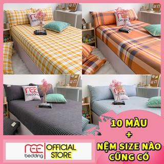 Bộ ga giường và vỏ gối cotton tc REE Bedding CTC44 sọc caro đủ size nệm 1m2, 1m4, 1m6, 1m8, 2m cực đẹp