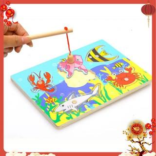 Đồ chơi gỗ Bộ câu sinh vật biển nam châm bằng gỗ size nhỏ