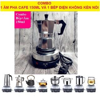 Combo ấm pha cà phê 150ml 3 tách, bình pha cà phê moka pot express kèm bếp điện thumbnail