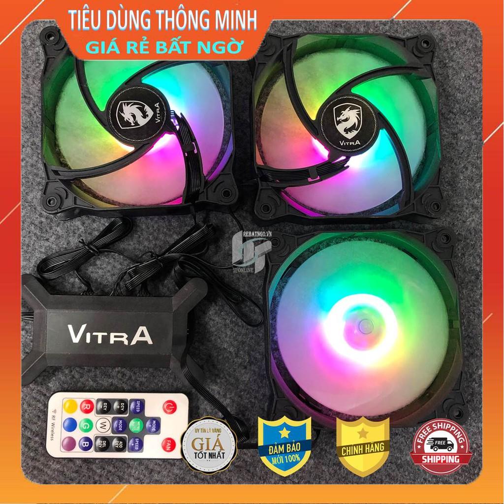 Bộ 3 Quạt – Fan case Vitra RAINBOW RGB và bộ hub điều khiển đa chế độ LED
