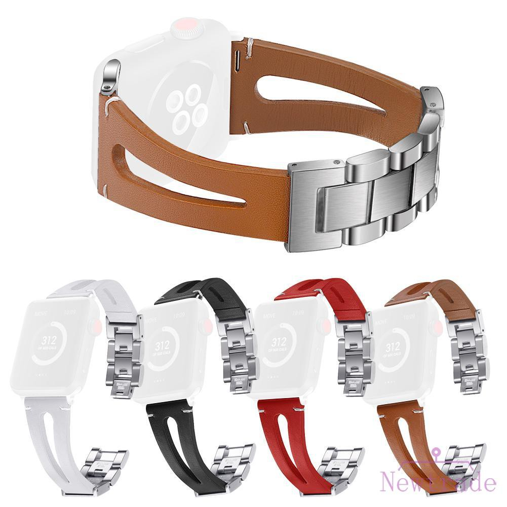 Leather Stainless Steel Buckle Watch Band Bracelet Strap for iWatch 1 2 3