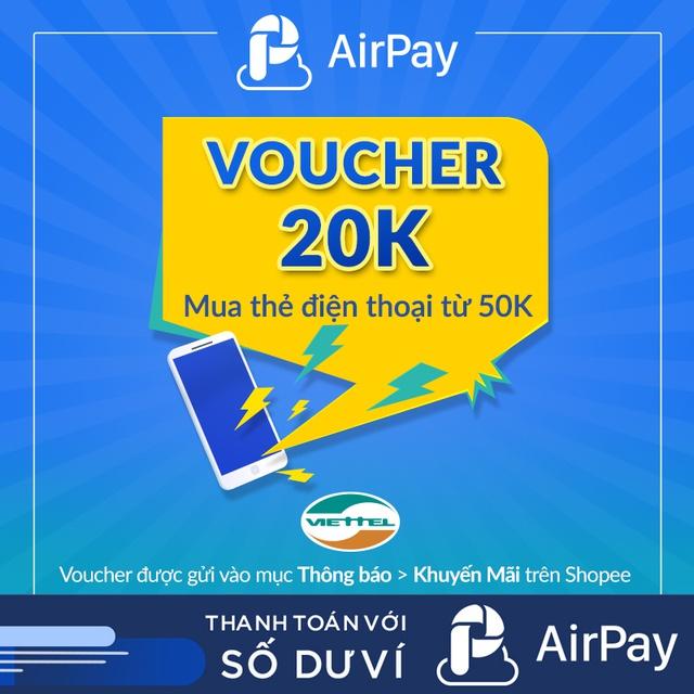 Hình ảnh Toàn quốc [E-Voucher] - 20K nạp ĐT Viettel từ 50k - chỉ thanh toán với AirPay-0