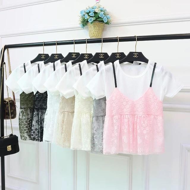 Áo phông nữ/áo hai dây vải ren, giả hai lớp, ulzzang, hàn quốc