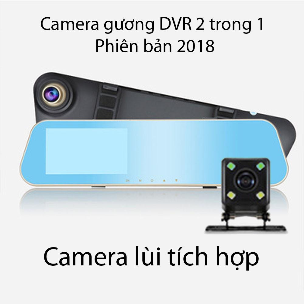 Camera hành trình trên gương tích hợp camera lùi 2 trong 1
