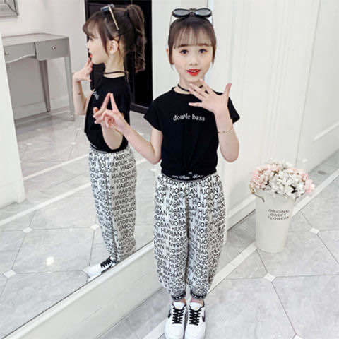 Korean Style Medium and Large Girls' Summer Clothing2020New Style Fashion Net Red Children's Suit Fashion Girl's Short Sleeve Two-Piece Set