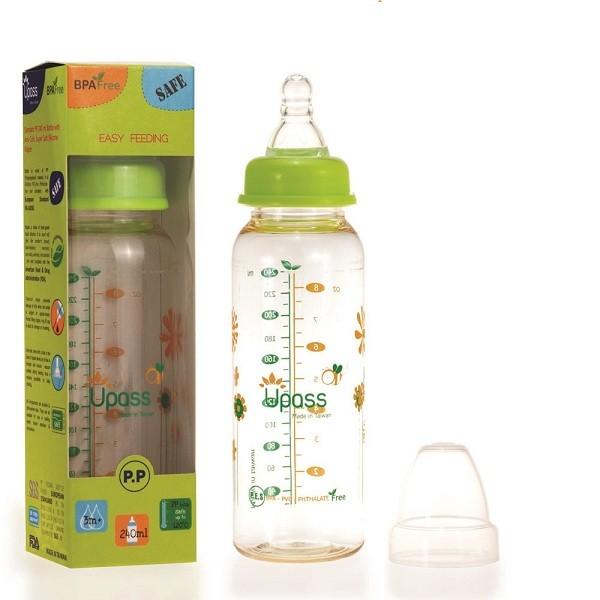 Bình sữa PES cổ thường 240ml không BPA, có núm ti silicon siêu mềm chống sặc UPASS UP02801C
