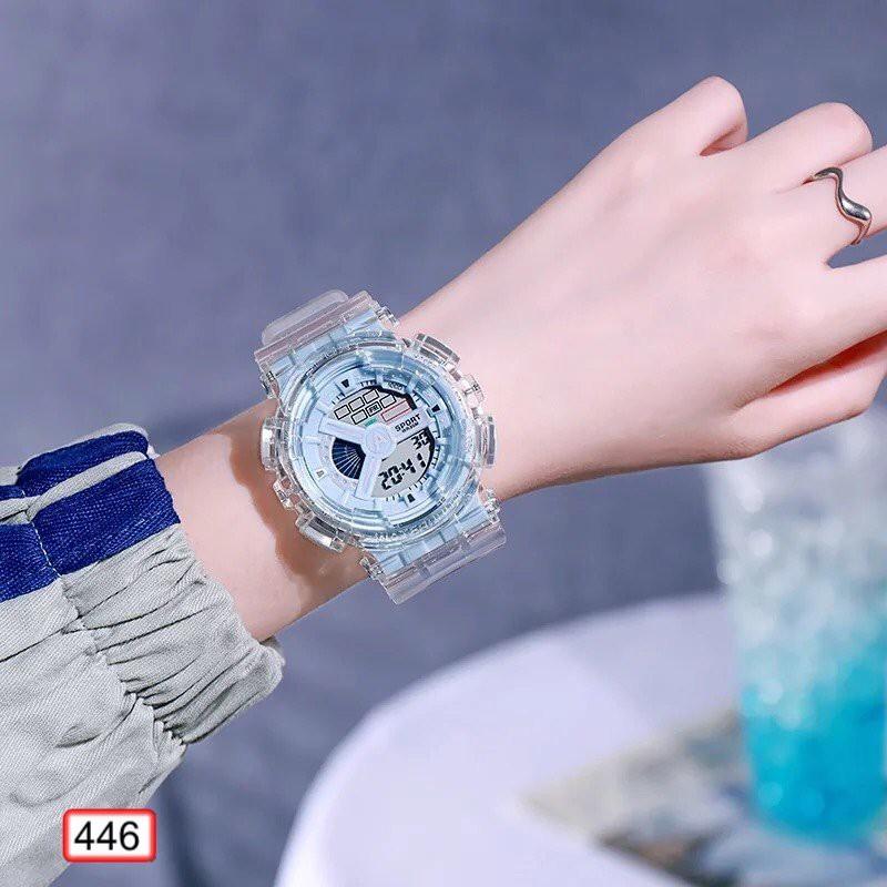 Đồng Hồ Nam Nữ SPORT HNW Dây Trong Suốt 446 Thời Trang Hot Trend