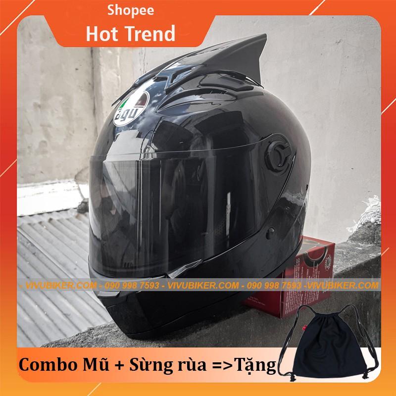 Mũ Fullface đen bóng kính đen AGU cực ngầu kèm sừng gắn nón bảo hiểm - Mũ bảo hiểm fullface AGU đen bóng kèm sừng