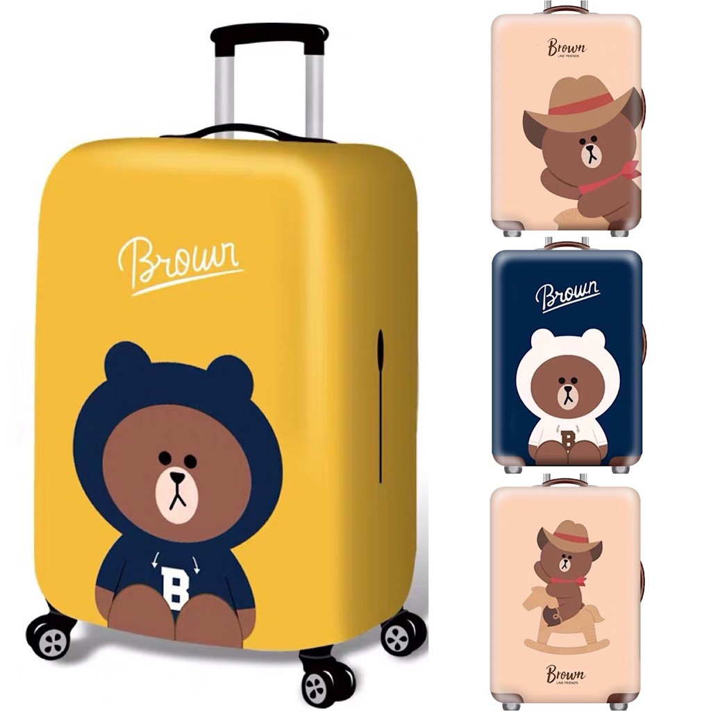 ผ้าคลุมกระเป๋าเดินทาง ป้องกันรอยขีดข่วน ผ้าหนากว่าที่อื่น ลายพรีเมี่ยม Cute Animal - BROWN 20/24/28/32 นิ้ว