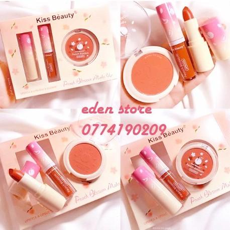[New] Set Trang Điểm 2 Son 1 Má Hồng Peach Blossom Make Up Kiss Beauty + Tặng 1 Gói Tẩy Trang 50 Miếng