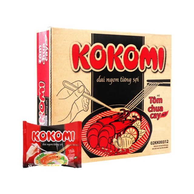 Thùng 30 Gói Mì Tôm Kokomi chua cay 65g