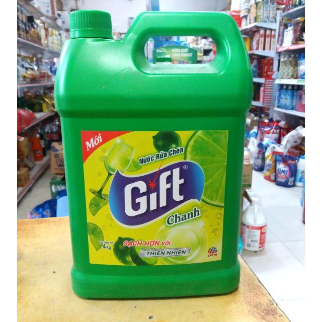 Nước rửa chén Gift chanh và trà xanh can 3,8 lit.