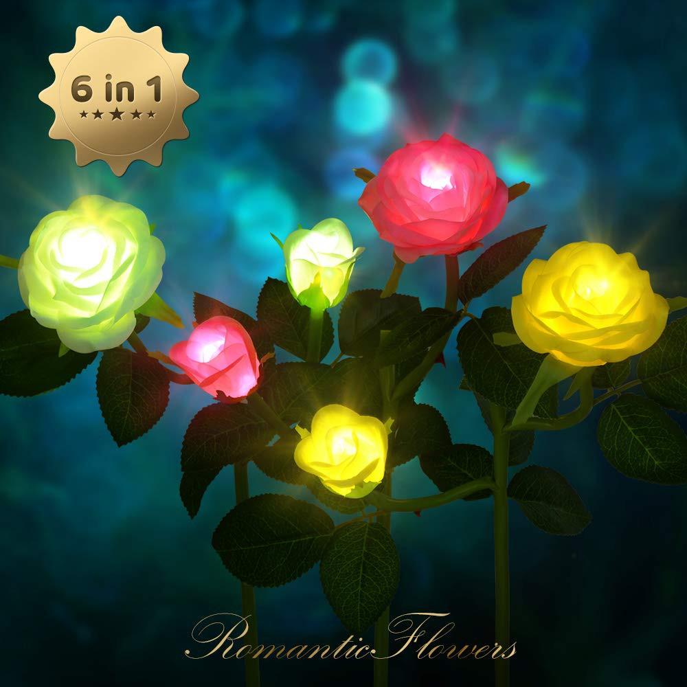 Combo Đèn Led Năng Lượng Mặt Trời Hình Hoa Hồng trang trí sân vườn