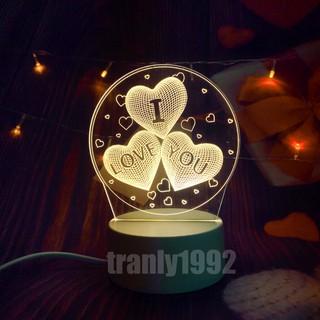 Đèn ngủ 3d TIM I LOVE YOU, đèn trang trí, quà tặng sinh nhật độc đáo, quà tình yêu