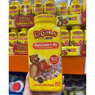[Date 12.2022] Kẹo dẻo bổ sung canxi cho bé L'il Critter Calcium +D3 Gummy Bears 250 viên