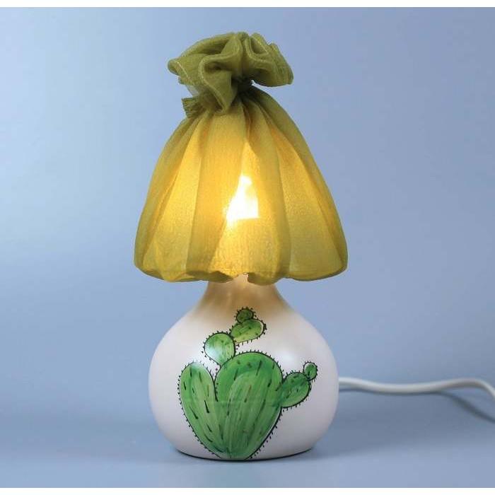 Đèn xương rồng Gốm Sứ Bát Tràng trang trí nội thất, đèn để bàn phòng ngủ
