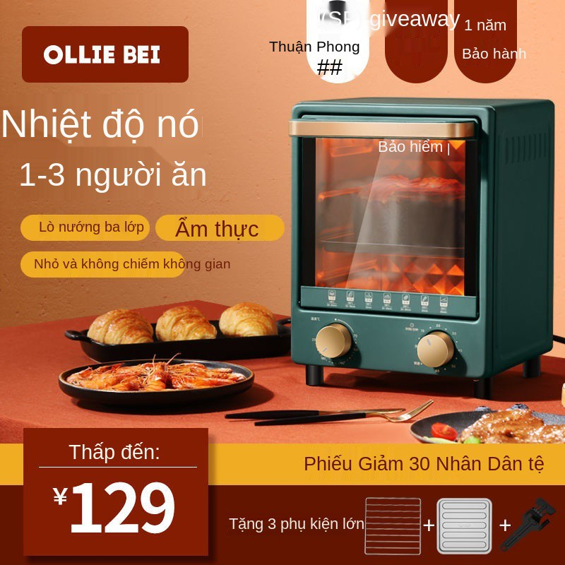 olliebei Đã xuất khẩu sang Vương quốc Anh Lò nướng điện gia dụng Chính hãng Lò nướng bánh mì mini nhỏ đa chức năng 12L