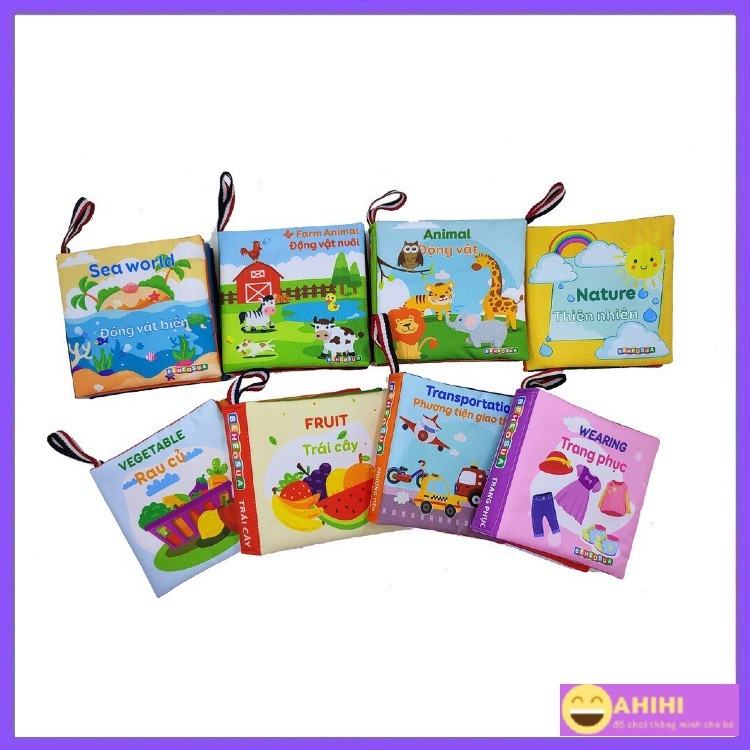 Sách vải cho bé, sách vải song ngữ, đa tương tác Kích thước 12x12cm 8trang, an toàn tuyệt đối cho bé AhihiKids