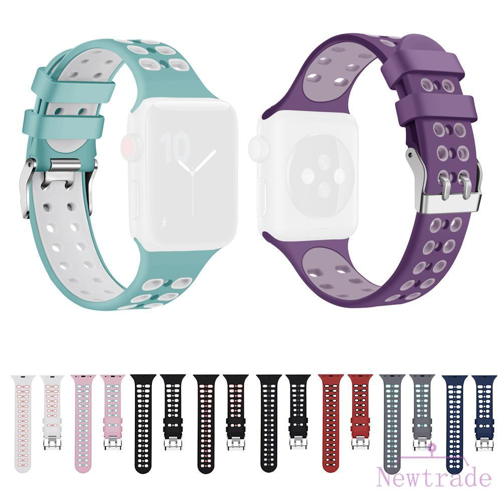Silicone Buckle Clasp Breathable Watch Band Bracelet Strap for iWatch1 2 3