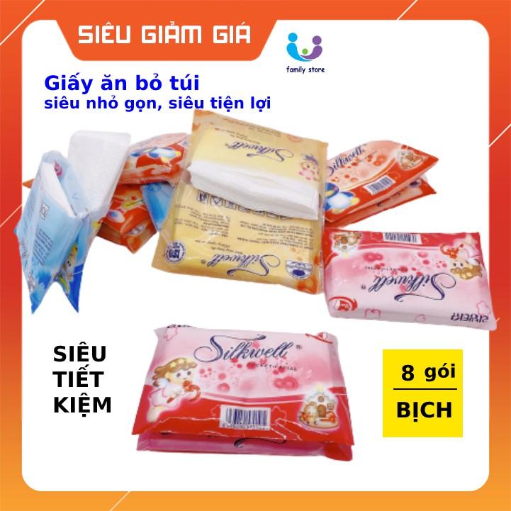 Giấy ăn bỏ túi siêu nhỏ gọn, khăn giấy ví mini Silkwell 8 gói/dây