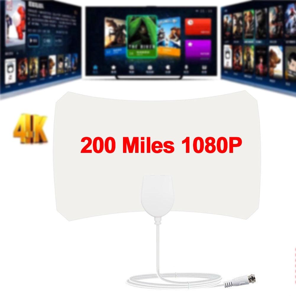 TV Digital White 200 Mile Range Without Amplifier HDTV Durable Mini 1080P Indoor Antenna