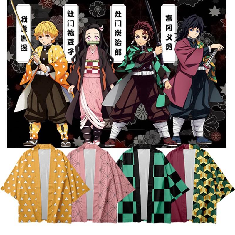 Áo khoác dáng rộng cosplay nhân vật Kamado Nezuko trong anime Demon Slayer: Kimetsu no Yaiba