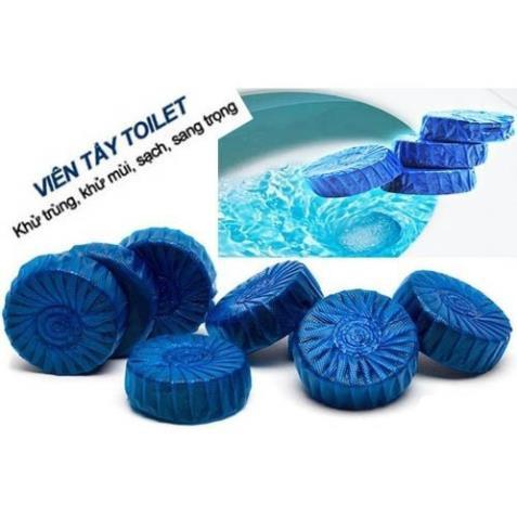 10 viên tẩy bồn cầu TulaHomemàu xanh, viên thả nước bồn cầu diệt khuẩn, 10 viên