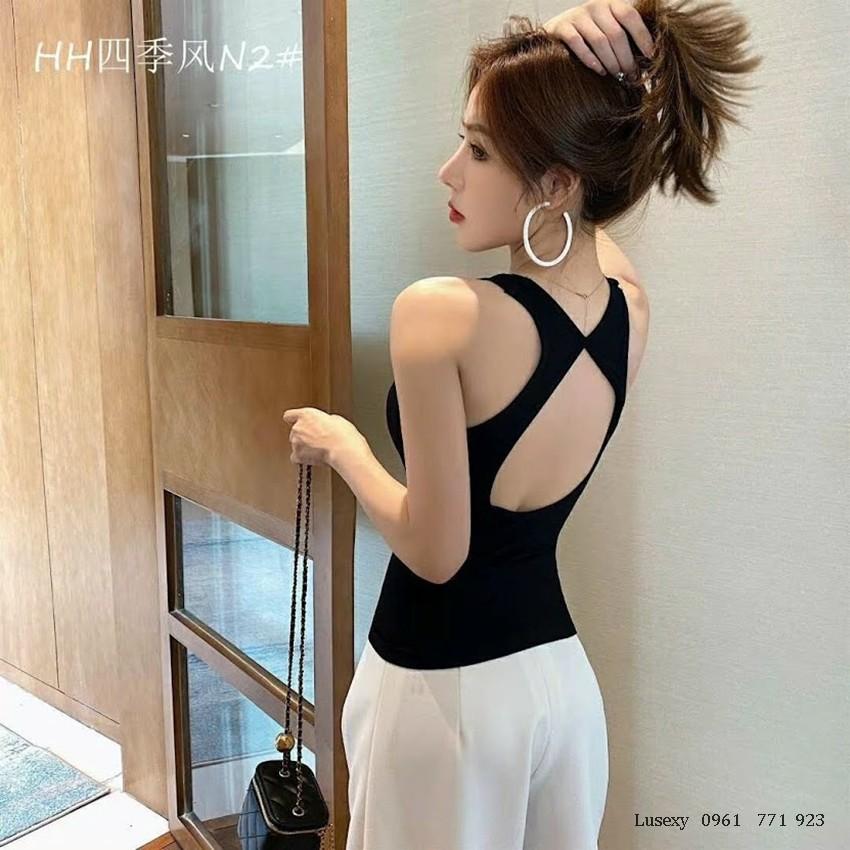 Áo thun nữ khoét lưng sang chảnh - Áo sát nách mặc vest nữ hoặc tập gym 3 lỗ đẹp màu trắng đen xanh da