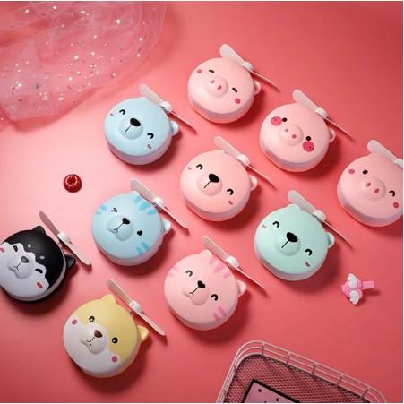 (sale chỉ hôm nay)Quạt Mini Pin Sạc Có Gương Và Đèn LED Hình Gấu Dễ Thương (loại 1)