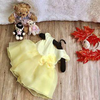 Đầm bé gái 4 lớp loại đẹp màu vàng