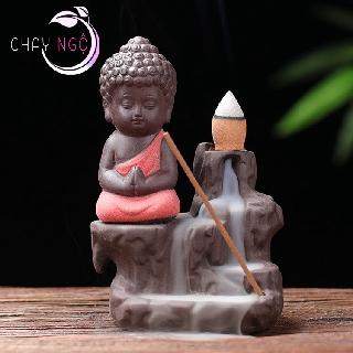 Thác Khói Trầm Hương Gốm Cao Cấp - Phật Tọa Bên Suối 4