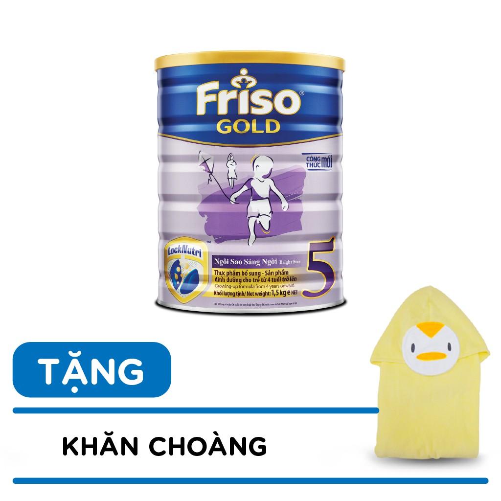 Sữa bột Friso 5 1500g tặng khăn choàng tắm cho bé Date T04/2020