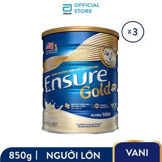 Hình ảnh Bộ 03 lon Sữa bột Ensure Gold Abbott (HMB) 850g/lon-0