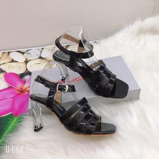 Giày sandal cao gót [XÃ KHO - THU VỐN]  quai chiến binh chất da bóng sang chảnh, cao 7 cm